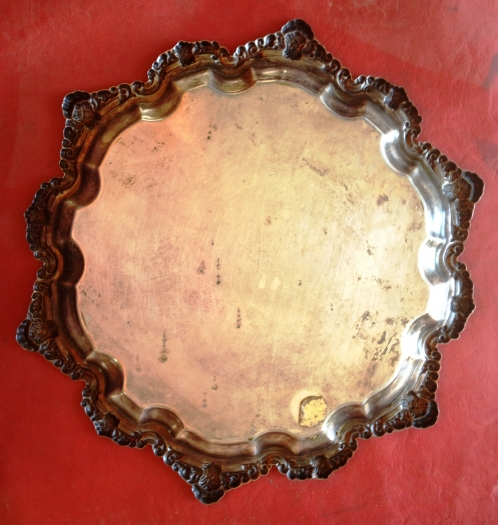 Antique SIlver Tray - Before Cleaning